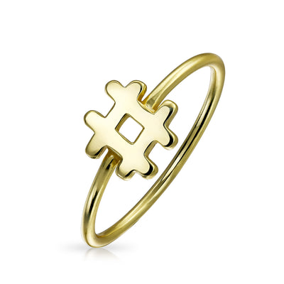 Tiny Thin Hashtag Ring Band Gold Plated 925 Sterling Silver 1MM