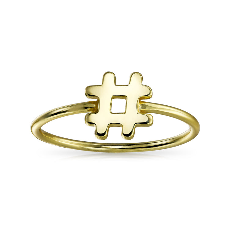 Tiny Thin Hashtag # Ring Band 14K Gold Plated 925 Sterling Silver 1MM