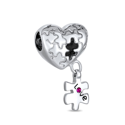 Autism Awareness Puzzle Piece Heart Love Charm Bead Sterling Silver