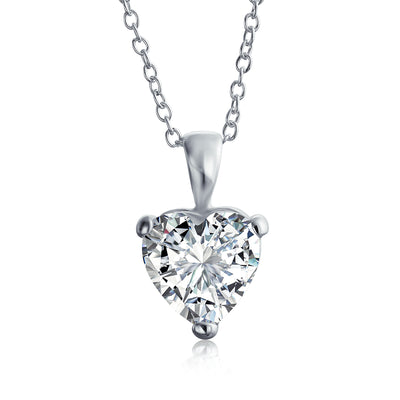 4 CT Heart Shape Solitaire CZ Bridal Pendant Necklace Sterling Silver