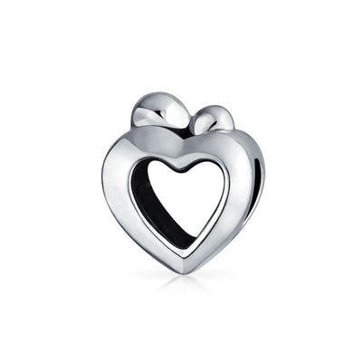 Heart Shape Mother Loving Family Child Love Charm Bead .925 Silver