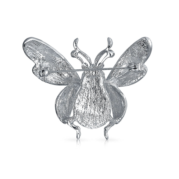 Dragonfly Insect Brooch Pin For Women White Enamel Crystal
