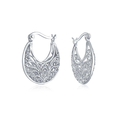 Boho Bali Floral Scroll Filigree Wire 3D Hoop Earrings Sterling Silver