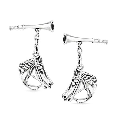 Thoroughbred Horse Head Equestrian Cufflinks 925 Sterling Silver