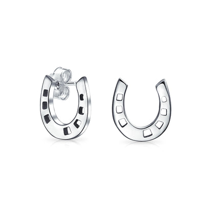 Horseshoe Equestrian Stud Earrings Graduation 925 Sterling Silver