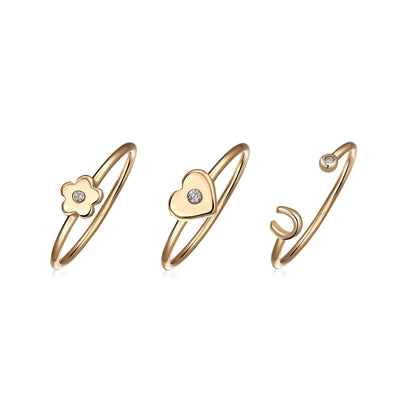 Rose Plated Sterling Midi Knuckle CZ Flower Heart Horseshoe Ring Set