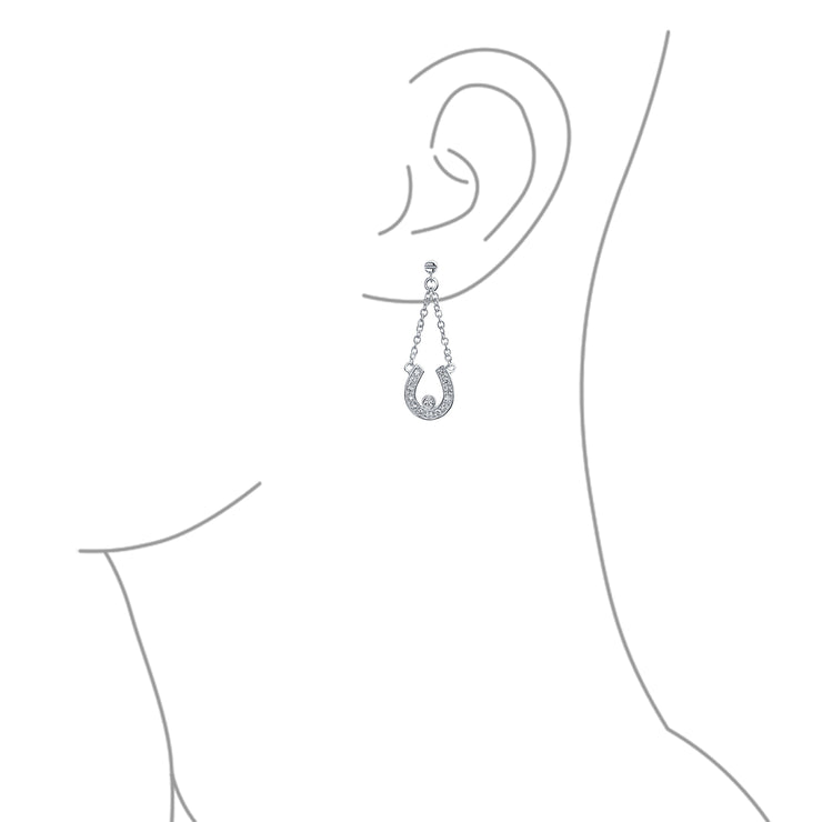 Good Luck Horseshoe Equestrian Pave CZ Dangle Earrings Sterling Silver
