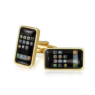 Black Cell Smart Phone Texting Cufflinks Gold Plated Stainless Steel