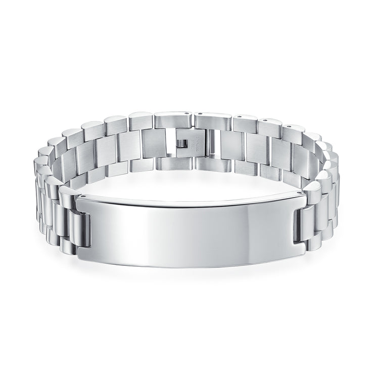 Identification Name Plated ID Bracelet Watchband Stainless Steel