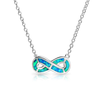 Infinity ever Love Blue Created Opal Pendant Necklace Sterling Silver