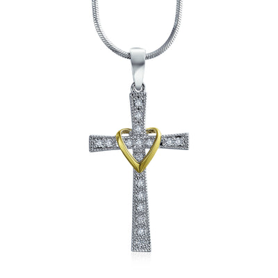 Infinity Love Heart Cross Pendant CZ Pave Necklace Gold Plated