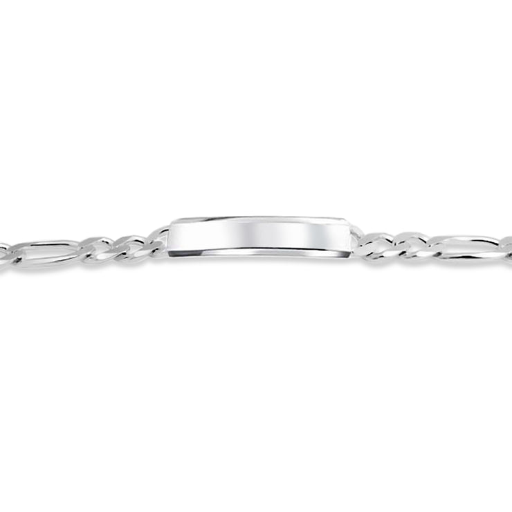 Figaro ID Bracelet Engravable 200 Gauge Sterling Silver Made In Italy