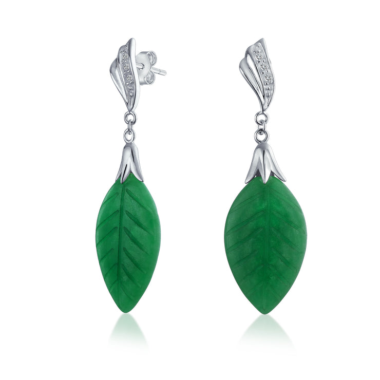 Carved Leaf Green Jadeite Jade Drop Earrings 925 Sterling Silver