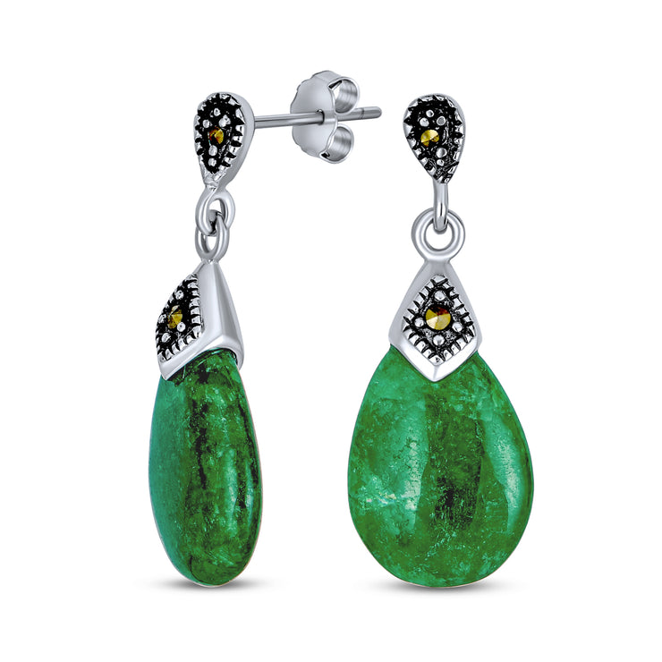 Green Jade Marcasite Teardrop Dangle Stud Earrings Sterling Silver