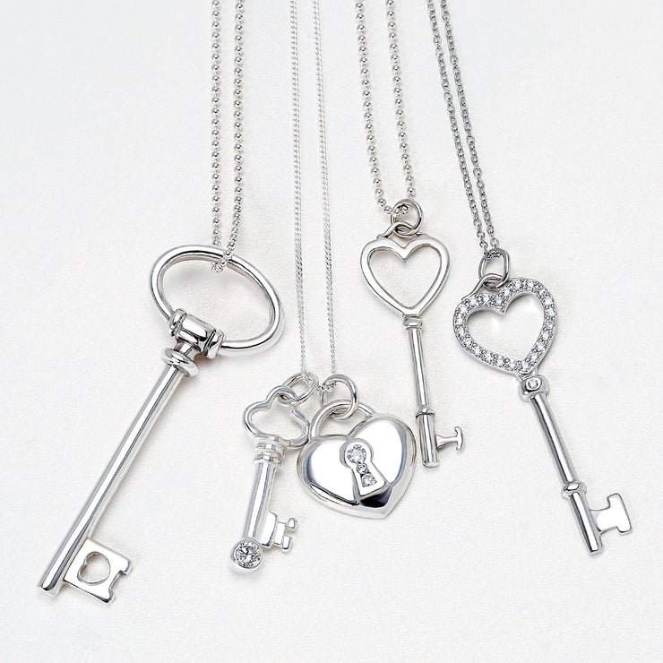 Large Open Oval Key Shape Pendant High 925 Sterling Silver Necklace