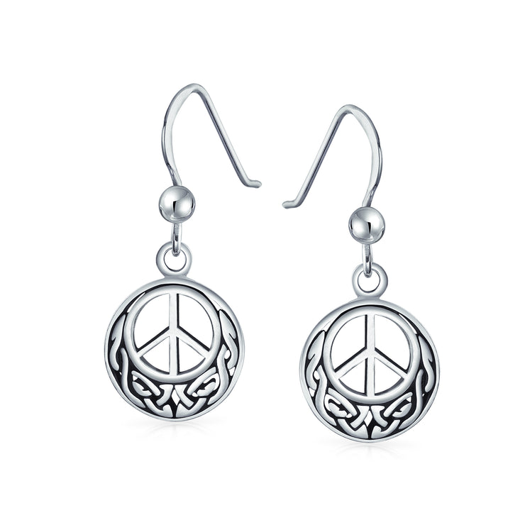 Peace Sign Symbol Celtic Knot Irish Love Drop Earrings Sterling Silver