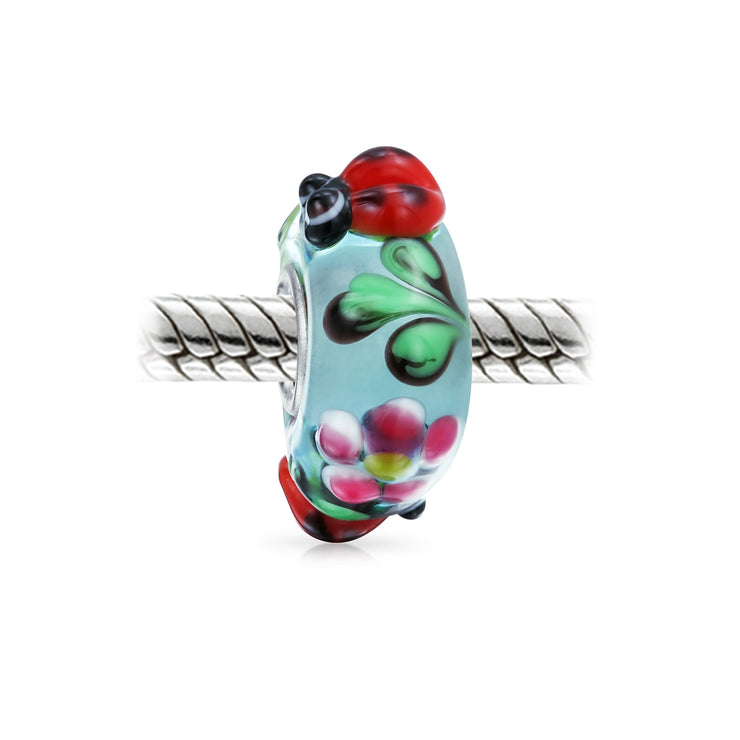 Ladybug Insect Flower Lampwork Murano Glass Bead Charm Sterling Silver