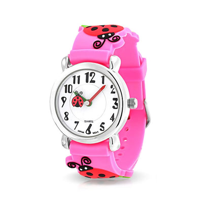 Red Ladybug Waterproof Wrist Watch Quartz 3D Pink Silicone Dial