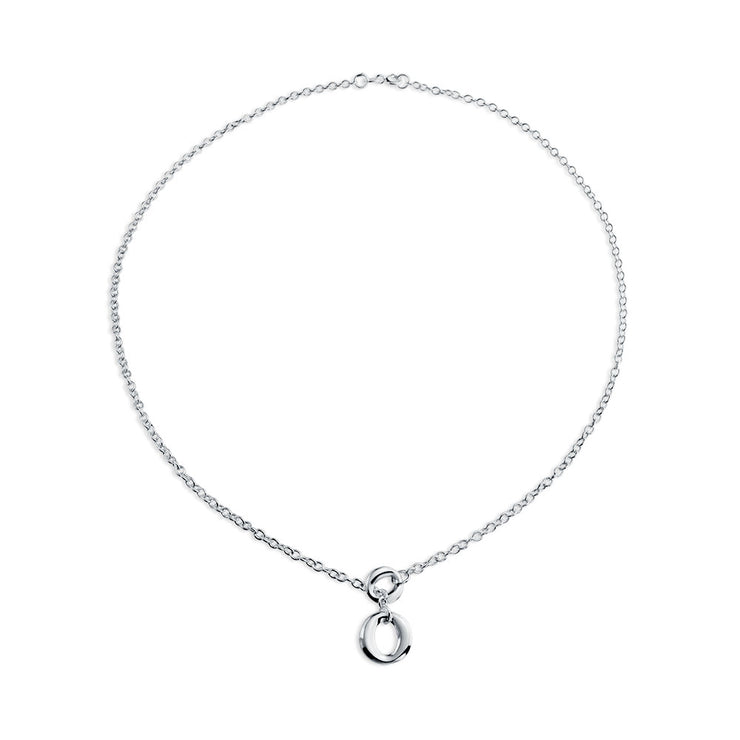 Open Circle Round Lariat Pendant Y Necklace High 925 Sterling Silver