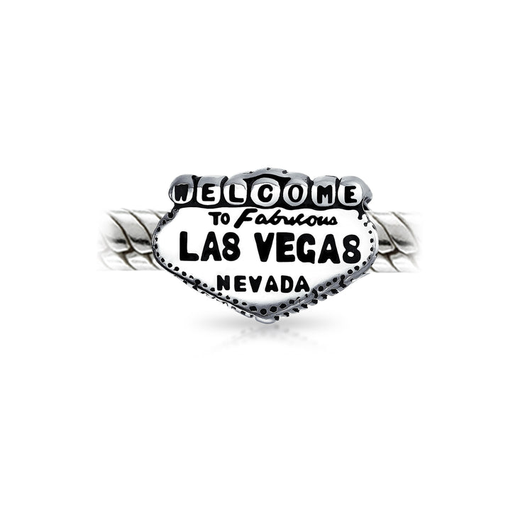 Welcome To Las Vegas Landmark Sign Vacation Travel Charm Bead Silver