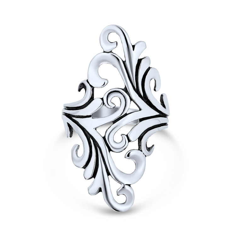 Boho Full Finger Armor Swirl Leaf Vine Ring 925 Sterling Silver