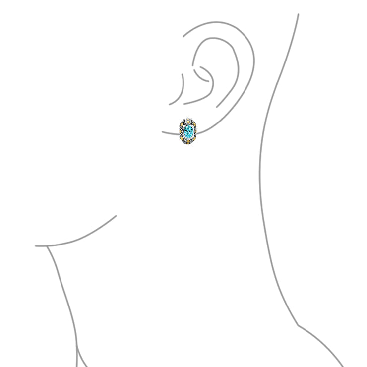 Two Tone Oval Clip On Earrings Imitation Aquamarine CZ Silver Plated