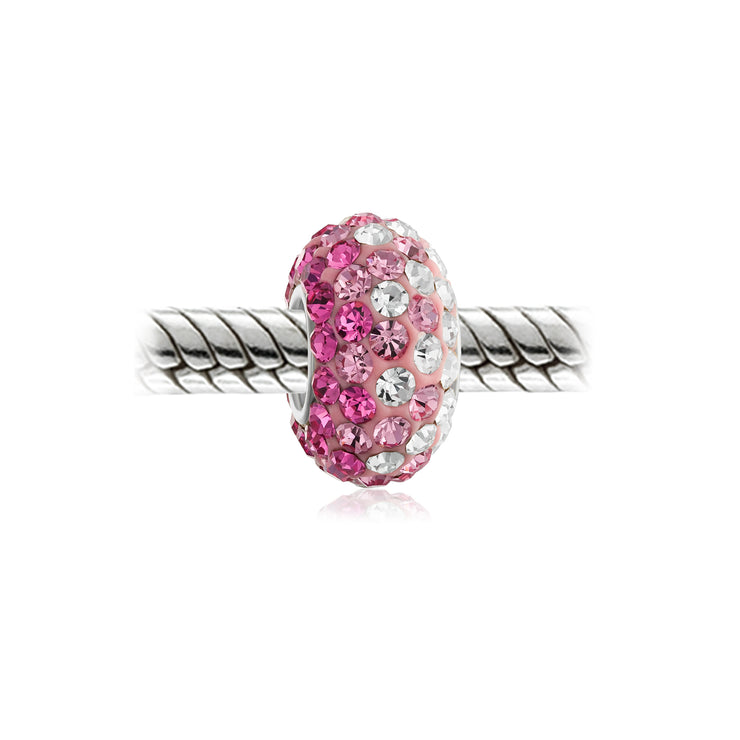 Light Pink Gradient Stripe Crystal Bead Charm 925 Sterling Silver