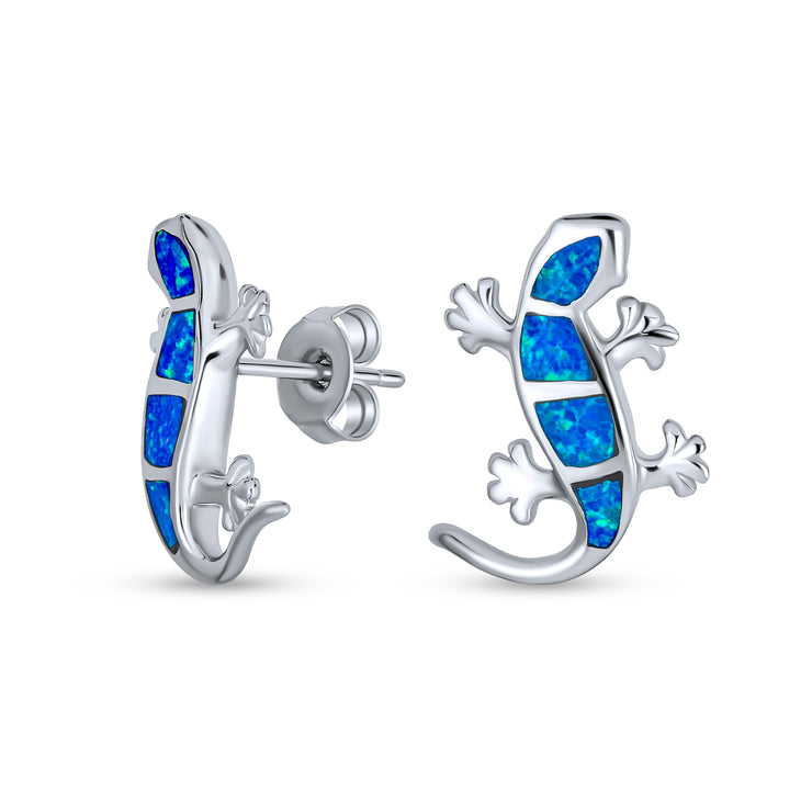 Blue Created Opal Inlay Gecko Lizard Stud Earrings Sterling Silver