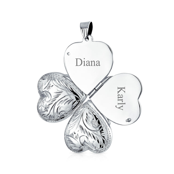 Vintage Style Engraved Four Way Multiple Photo Heart Locket For Women