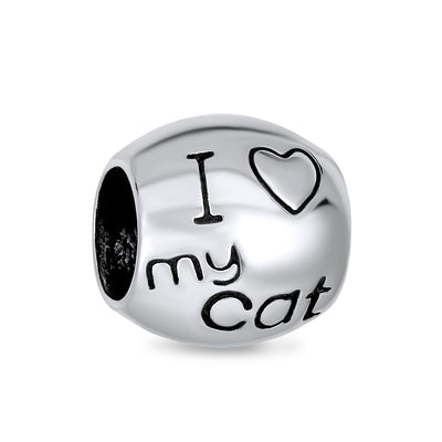 I Love My Cat Words Kitten Pet Lover Charm Bead 925 Sterling Silver