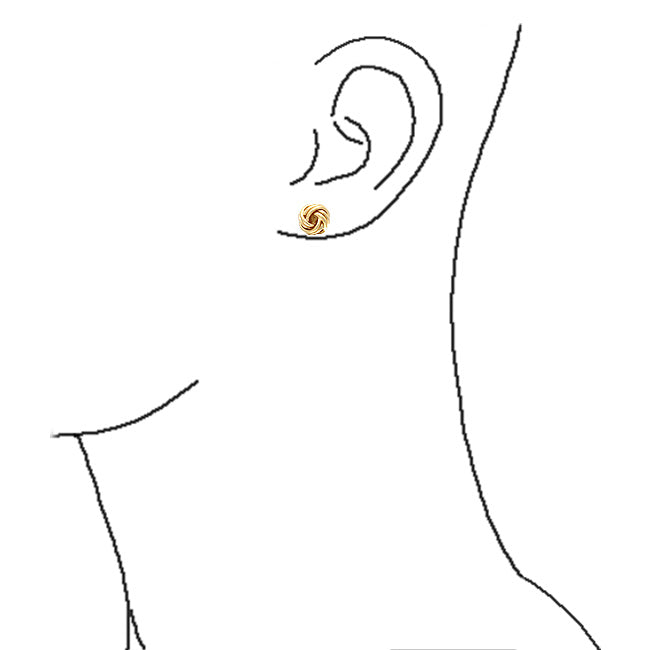 Twisted Rope Knot Stud Earrings 14K Gold Plated 925 Sterling Silver