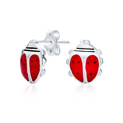 Red Enamel Garden Insect Ladybug Stud Earrings 925 Sterling Silver