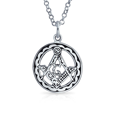 Masonic Freemason Compass Circle Pendant 925 Sterling Silver Necklace