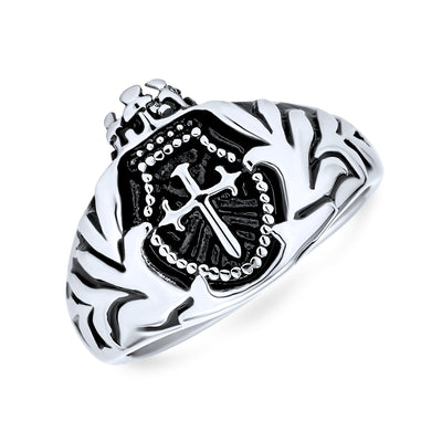 Mens Crown Knight Arms Shield Signet Cross Ring Black Stainless Steel