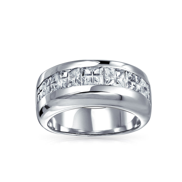 AAA CZ Wide Cubic Zirconia Wedding Band Ring .925 Sterling Silver