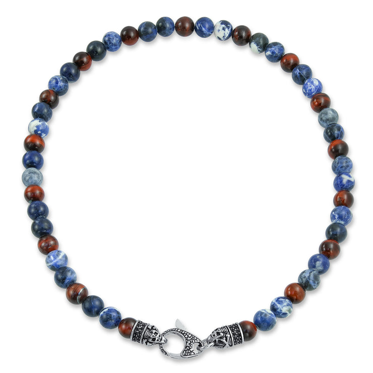 Bali Style Gemstone Blue Sodalite Tiger Eye Ball Bead Strand Necklace
