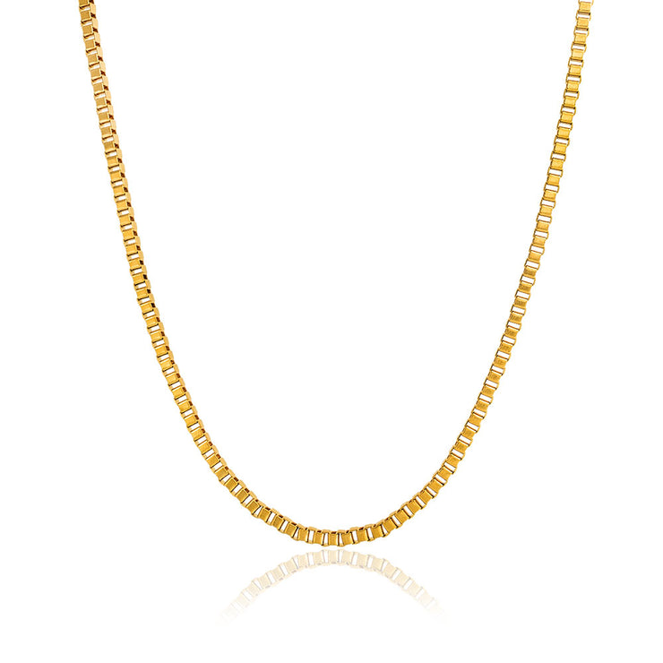 Box Chain Link 3MM Thin Necklace men Gold Plated Stainless Steel High