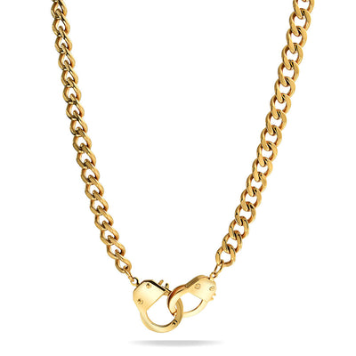 Handcuff Necklace Lock Partner Crime Gold Plated Stainless Steel
