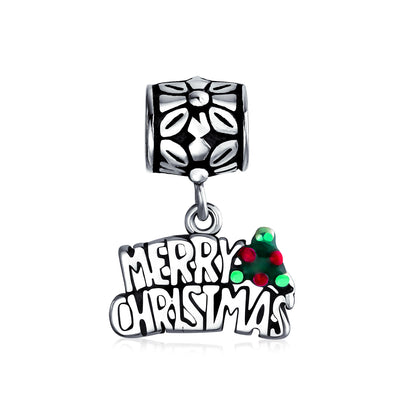 Saying Merry Christmas Holly Dangle Charm Bead 925 Sterling Silver