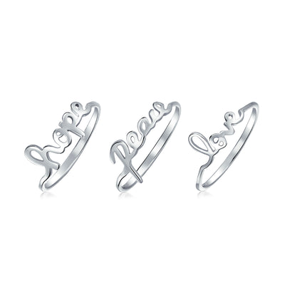 925 Sterling Silver Peace Love Hope Saying Word Knuckle Midi Ring set