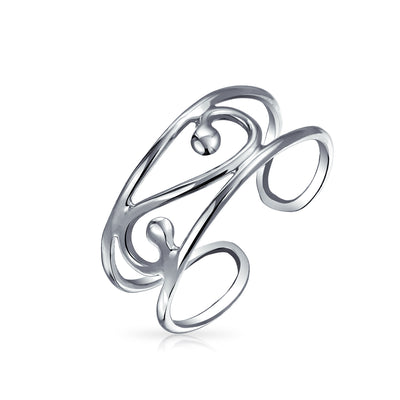 Swirl Cut Out Filigree Midi Wide Band Toe Ring 925 Silver Sterling
