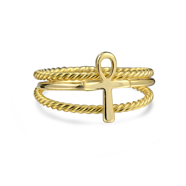 Gold Plated 925 Sterling Silver Egyptian Ankh Cross Ring 1MM Band