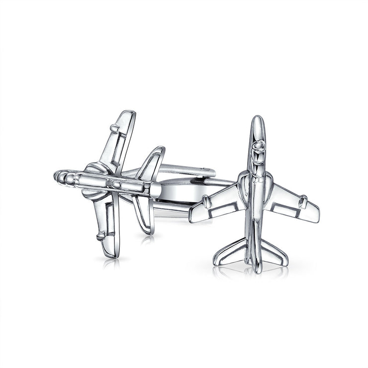 Airplane Military Jet Shirt Cufflinks Silver Tone Stainless Steel
