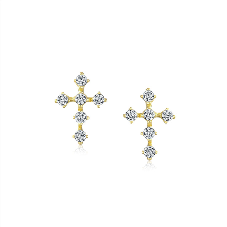 Religious Christian CZ Cross Stud Earrings Real 14K Gold Screwback