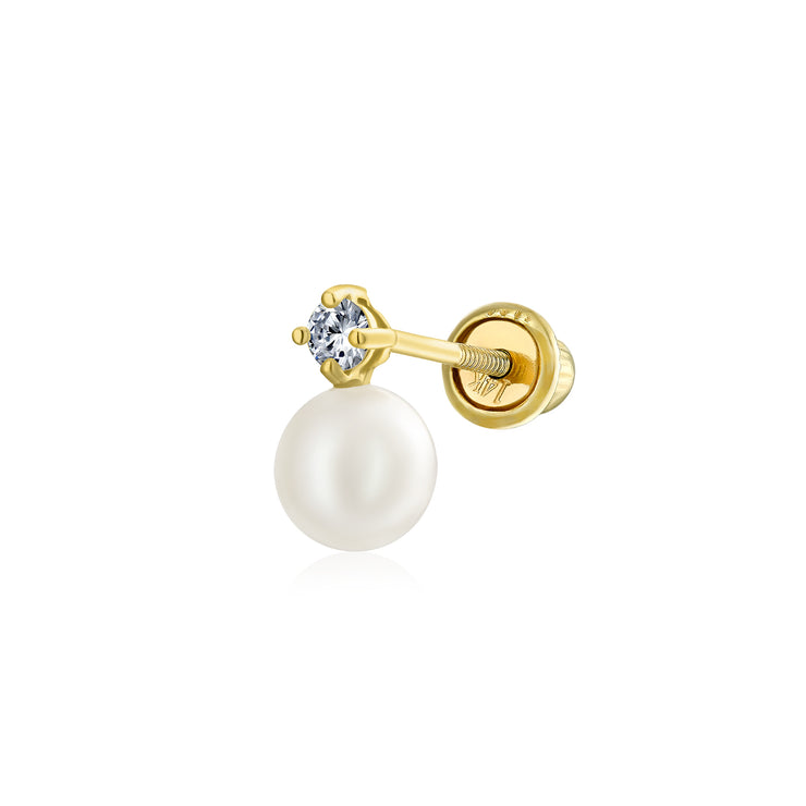 CZ Freshwater Cultured Pearl Cartilage Earring Real 14K Gold Screwback