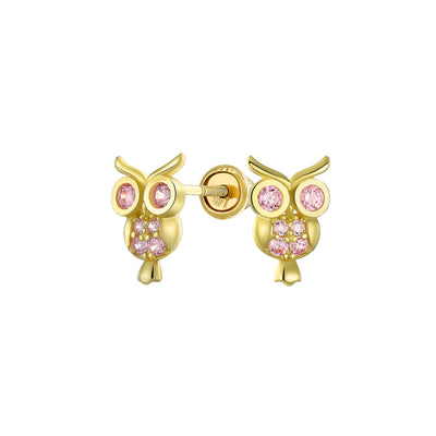 CZ Wise Owl Bird Stud Earrings Real 14K Yellow Gold Screwback