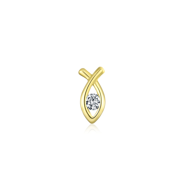Ichthus Jesus Fish Stud Cartilage Earrings CZ 14K Gold Screwback