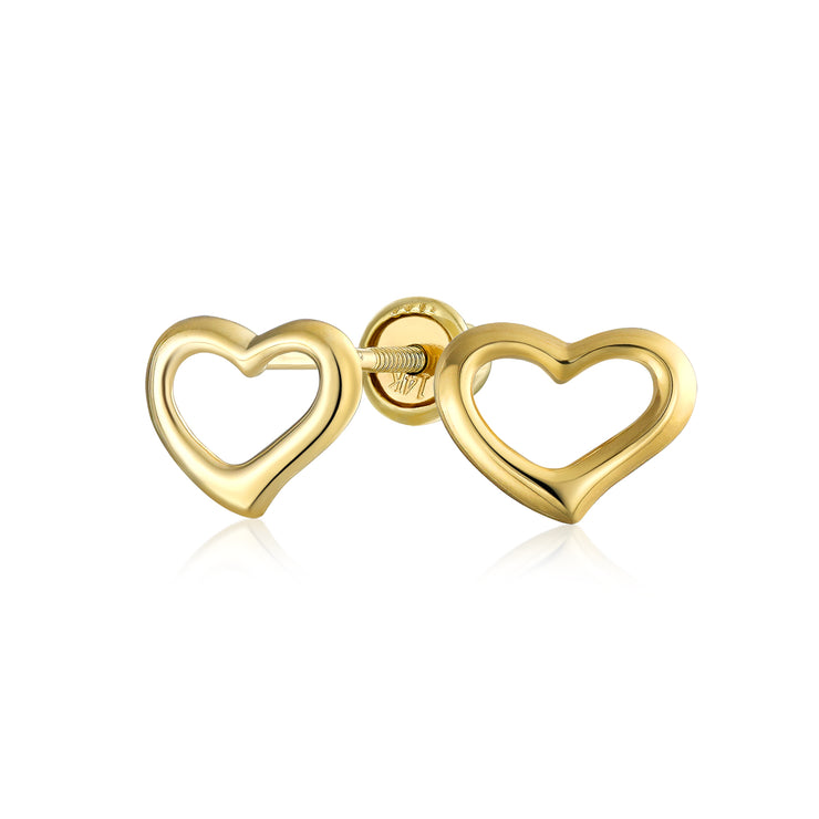 Tiny Minimalist Heart Shaped Stud Earrings Real 14K Gold Screwback