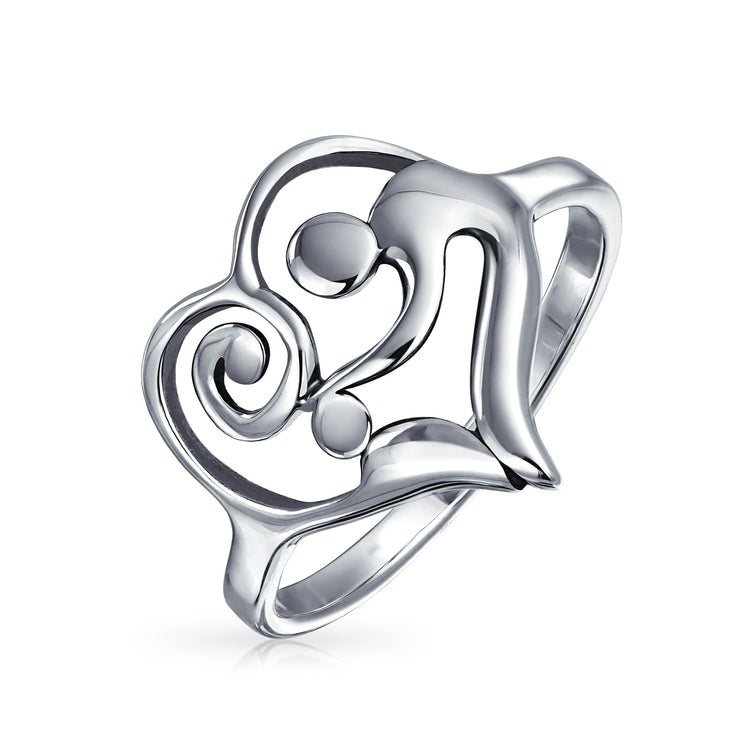 Swirling Heart Mother Loving Child Family Ring Gift For Mom Band 1MM