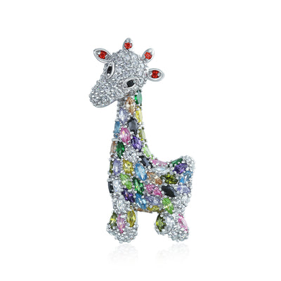 Giraffe Zoo Animal Brooch CZ Colorful Pave Silver Tone Rhodium Plate